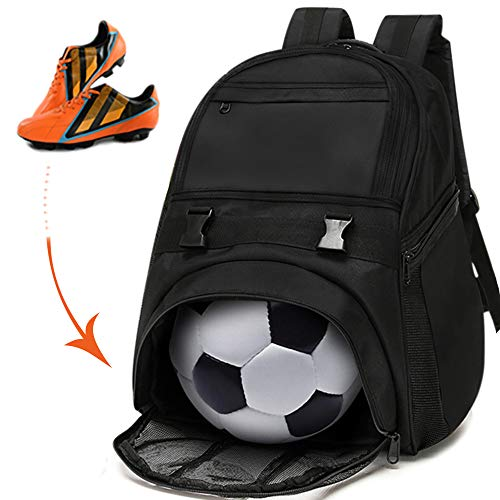 - Soccer Bags - Sports Backpacks for Soccer, Basketball, Football & Helmet Separate Ball or Shoes Holder For Youth Fits Soccer Equipment & Gym Gear - Black