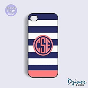 Personalized Your Initials iPhone 5c Case - Blue White Stripes Coral Circle iPhone Cover