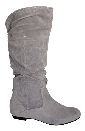 Op Heel PINKY Via Grey Pull Mid Boots US Flat Collection M 6 Vinilla Slouchy Women's B Microsuede Calf 01pxFqpBw