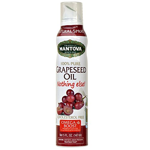 Mantova 100% Grapeseed Oil Spray 8 oz. Spray Bottle - Manage Oil Amount - Great For Salads & Cooking