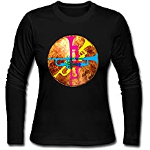 Watercolor Dolphin Playing Water Polo Women Long Sleeve Athletic Cotton Crew Neck T-Shirt