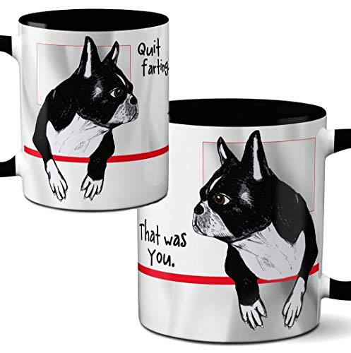 Farting Boston Terriers Mug by Pithitude - One Single 11oz. Black Coffee Cup