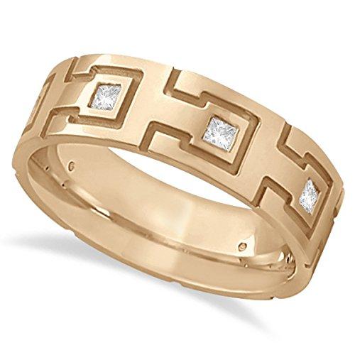 Princess-Cut Diamond Wedding Ring For Men Burnished Band Setting 18k Rose Gold (0.50ct) (Burnished Diamond Band)
