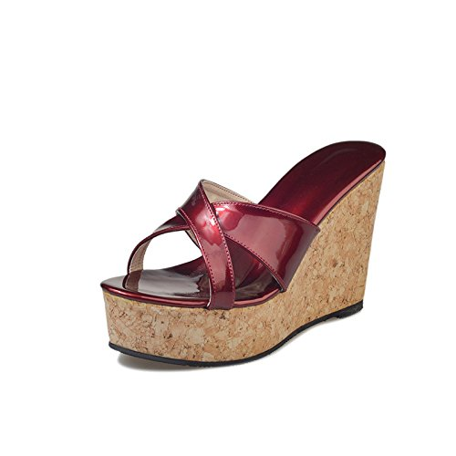 Dony Thick bottom high heel sandals, pure color slope slippers, thick sole high heels and sandals. Thirty-nine