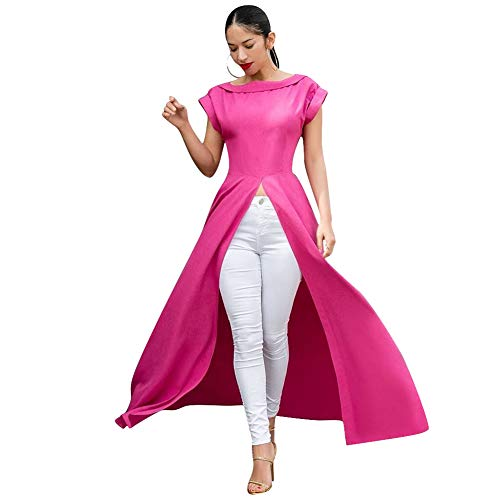 Womens Short Sleeve High Low Front Split Long Maxi Tunic Tops Pink S