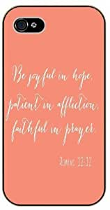 Be joyful in hope, patient in affliction, faithful in prayer - Romans 12:12 - Bible verse Case For Iphone 5/5S Cover black plastic case