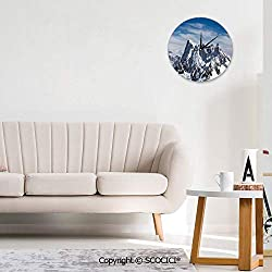 SCOCICI Home Wall Clock Picturesque Mont Blanc Cliff to Cloud Idyllic Silent Not Ticking Unique for Living Room Office School 10INCH