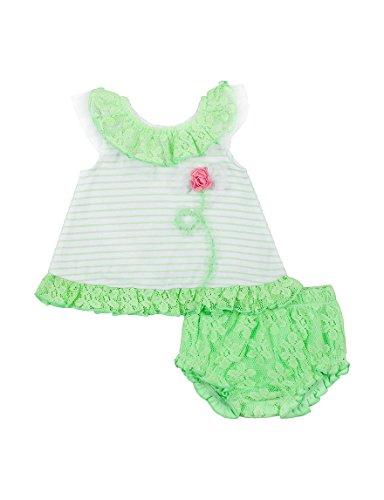 Little Lass Baby Girls' 2-pc. Mint Lace Accent Knit Diaper Set, Green (6/9 (Rosette Accent Knit)