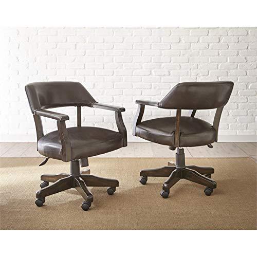 Steve Silver Upholstered Captains Chair in Dark Brown