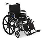 Medline Lightweight and User-Friendly Wheelchair with Flip-Back, Desk-Length Arms and Elevating Leg Rests for Extra Comfort, Gray, 18 inch Seat