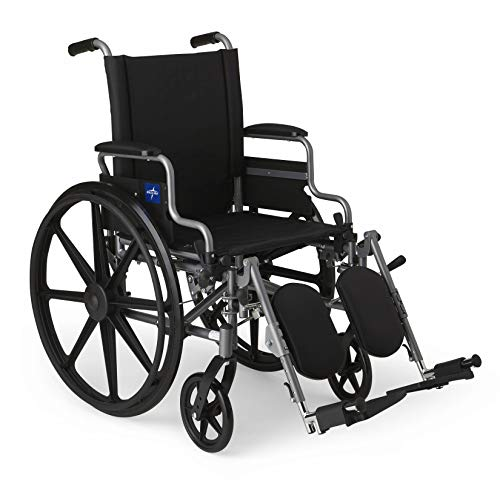 "Medline Lightweight & User-Friendly Wheelchair With Flip-Back, Desk-Length Arms & Elevating Leg Rests for Extra Comfort, Gray, 18"" Seat"