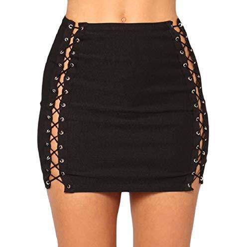 (Sebaby Women's Trim-Fit Highwaist Denim Lace Up Detail Pencil Short Skirt Black XS)