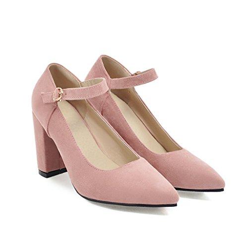 Señaló Talón Zapatos Bloque Mujeres amp;X del Toe Superficial Las Rosa Boca Qin 18nqYOX8