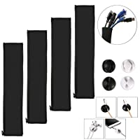 Cable Organizer, Kakbpe Cable Management Sleeve Cable Clip Cord Management Wire management-Pack of 8
