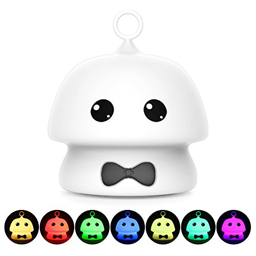 Night Light Baby LED Portable Silicone Cute Mushroom Nursery Soft Warm White Night Lamp Touch Safe Lamp Tap 7 Colors Control USB Rechargeable Lighting for Kids Room Decor (White+Black bow tie)