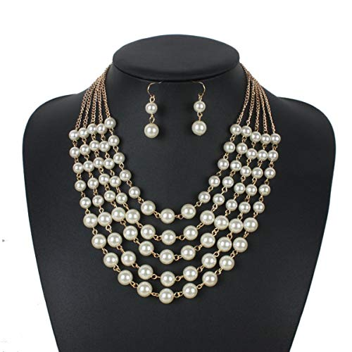 Faux Pearl Bib Necklace Jewelry Set Girl Simulated Pearl Statement Collar Choker Necklace Earring Set (White) ()