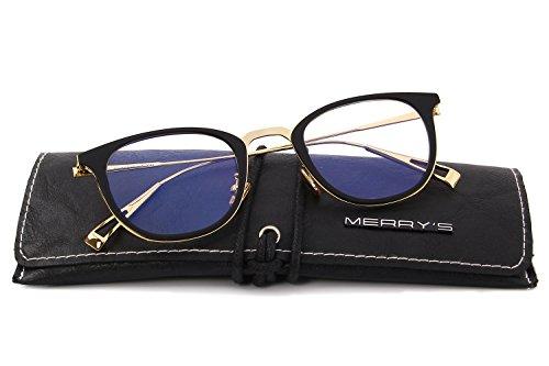 MERRY'S Women Classic Optical Frames With Clear Lens Eyeglasses Non-prescription Glasses S2072 (Black, - Classic Frames Optical