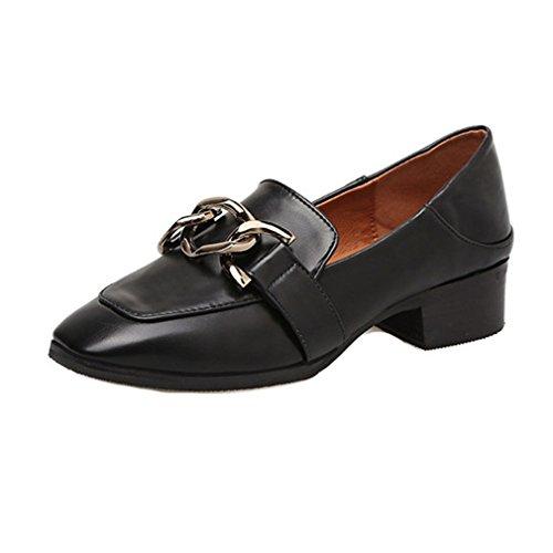 Giy Penny Loafers For Kvinner, Slip-on Spenne Klassiske Pumps Loafers Firkantet Tå Blokk Hæl Kjole Oxford Sko Svart