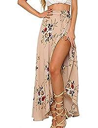 Womens Boho Floral Tie Up Waist Summer Beach Wrap Cover Up Maxi Skirt