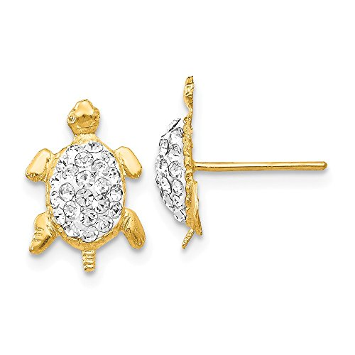14k Yellow Gold Crystal White Turtle Post Stud Earrings Ball Button Animal Reptile Fine Jewelry Gifts For Women For Her ()