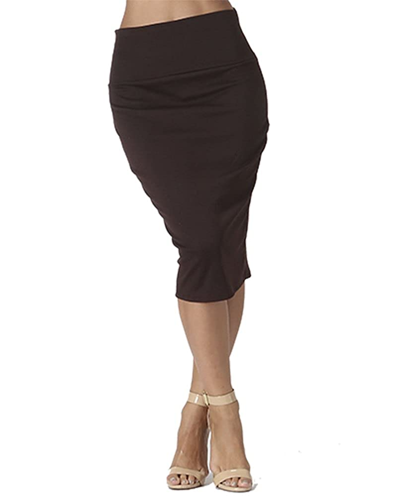 Bold And Beautiful Women's Knee Length Pencil Skirt – High Waisted Midi – Office Wear – Plus and Regular Size – Made in USA