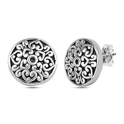 (LeCalla Sterling Silver Jewelry Light Weight Antique Round Filigree Cut Stud Earrings for Women)