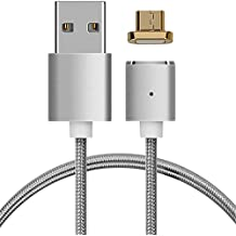 kwmobile Magnetic Micro USB Charging Cable for Android - 1m Braided Nylon USB 2.0 Magnet Data Sync Reversible Cable Smartphone Tablet GPS
