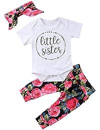 Baby Girls Little Sister Bodysuit Tops Floral Pants...