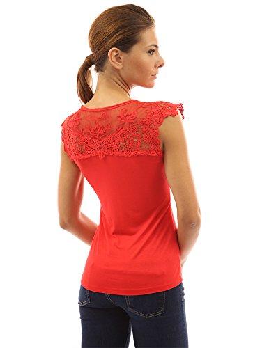 Top PattyBoutik femmes manches dentelle crochet Rouge en au sans fleurie OO5wxPrv