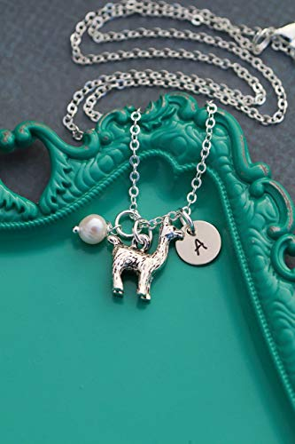 Llama Necklace - DII AAA - Farm Animal 4H Gift - Handstamped Handmade Jewelry - 3/8 Inch 9MM Disc - Custom Initial