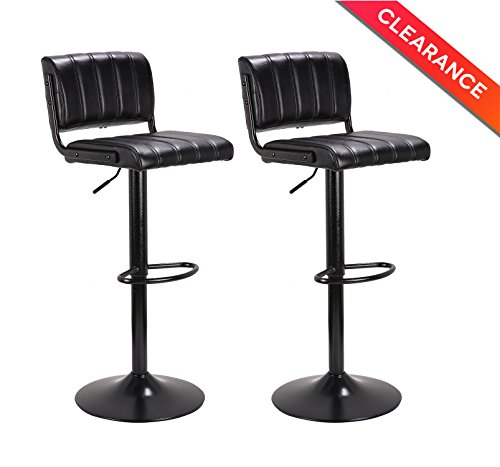 """LCH 24"""" - 33"""" PU Leather Adjustable Bar Stools, Stylish Counter Height Swivel Bar Stool Chairs with Backrest, Set of 2, (Leather Backrest)"""