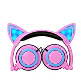 Headset Emubody Earphones LED Foldable Cat Ear Rechargeable Headphones (PINK) Review