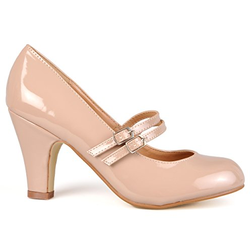 (Brinley Co Women's Jaclyn 1 Dress Pump, Blush Patent PU, 10 M US)