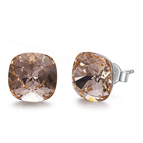 (SNOWH Womens Sterling Silver CZ Stud Earrings - Gemstone Halo Rhinestone Earrings Cushion Shaped Hypoallergenic for Wedding, Prom, Daily Wear,Jewelry Gifts Light Peach )