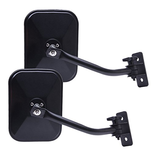- Wiipro Pair Rectangular Rear View Mirrors for Jeep Wrangler Driver and Passenger Side Quick Release with Adjustable Arms Textured Black