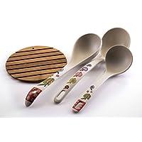 Cucharones de cocina de bambú de primera calidad, totalmente naturales, hechos de 100%, bambú natural caído, amigable con la tierra, ideal para sopas y salsas, adición perfecta a su colección de utensilios de cocina, almohadilla de bambú incluida