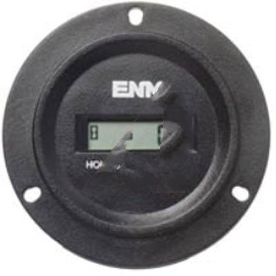 (ENM Company L4BA Hour Meter Round Case 3-hole mount 2-250 VAC/VDC)