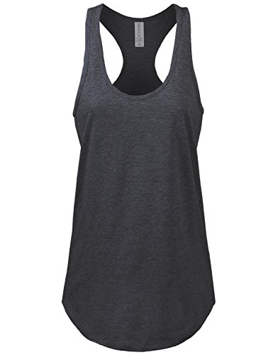 JC DISTRO Women's Basic Jersey Racer-Back Charcoal Tank Top - Away Jersey Gray