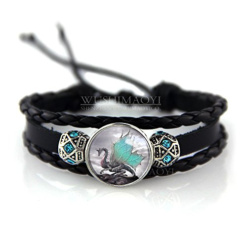 Blue Dragon Dragon Bracelet - WUSHIMAOYI Blue Wing Dragon bracelet Dragon jewelry Braid Leather bracelet Leather jewellery Leather bracelets Friendship love bracelet for friend gift