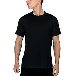 Woolx Men's Merino Wool T-Shirt - Lightweight - No Odor - Wicks Away Moisture - BLK -  SML