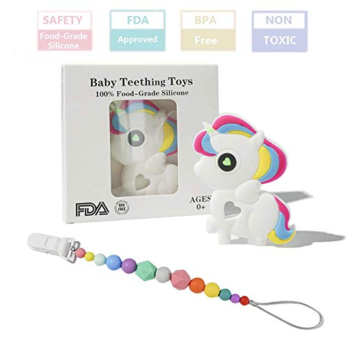 (FANSIDI Baby Teething Toys, Unicorn Teether with a Rainbow Pacifier Clip - Easy to Hold, Soft, Bendable,Chewable and Freezer Safe Gums Massager, BPA Free and FDA Approved, Great Shower Gift for Baby)