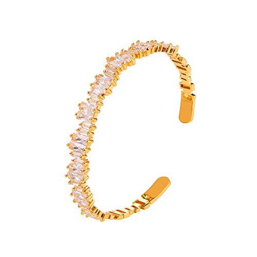 U7 Simple Cuff Bracelet 18K Real Gold Platinum Plated Fine Bangle Bracelet Fashion Jewelry (Style F4. CZ Cuff Gold)