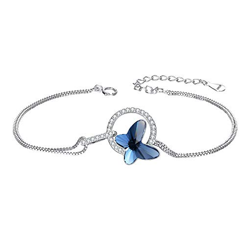 (EleQueen 925 Sterling Silver CZ Butterfly Strand Bracelet Denim Blue Made with Swarovski Crystals)