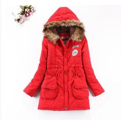 Down FYM Red COAT Size Big Solid DYF Pocket XXL Coat Length Medium Color Jacket Thickened qCTxH4ECB