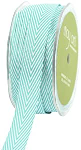 May Arts 3/4-Inch Wide Ribbon, Turquoise Twill with Chevron Stripes