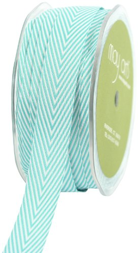 May Arts 3/4-Inch Wide Ribbon, Turquoise Twill with Chevron Stripes - May Arts Chevron Stripe