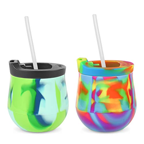 Silipint The Original Silicone Wine Glasses With Lids and Straws - Set of 2 U.S. Patented, BPA-Free, Unbreakable - Spill Resistant When Using the Lids (Hippy Hop and Sea Swirl cups w/Lids and Straws) ()