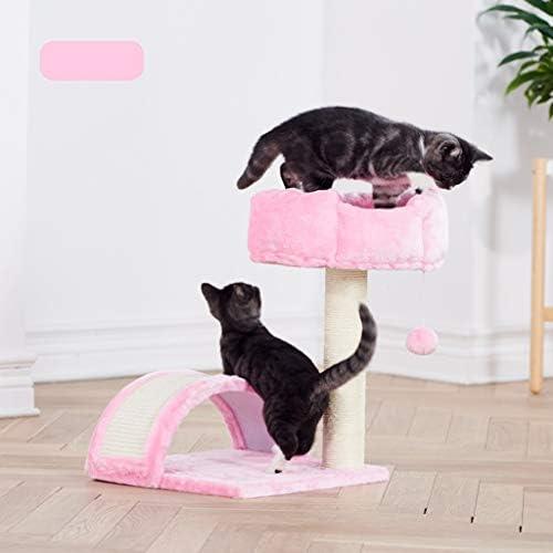 猫の木の塔、サイザル傷猫の活動ツリープレイハウス、猫の巣、パッド入りコンド、トンネル、ハッピーボール (Color : Pink)