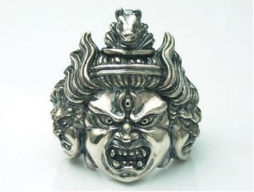 Hayagriva Japanese Pattern Buddha statue ring silver accessories size 17 US 8.25 by Craft for the Love