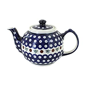 Polish Pottery Boleslawiec Teapot, 1L in RED DOT pattern